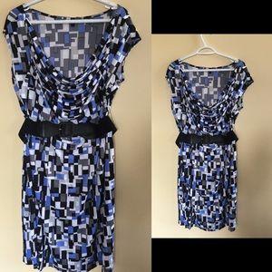 Plus size dress with elastic belt